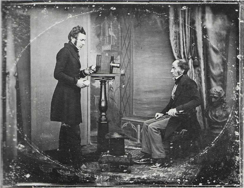 Unknown PHOTOGRAPHER. Jabez Hogg Making a Portrait in Richard Beard's Studio, 1843.
