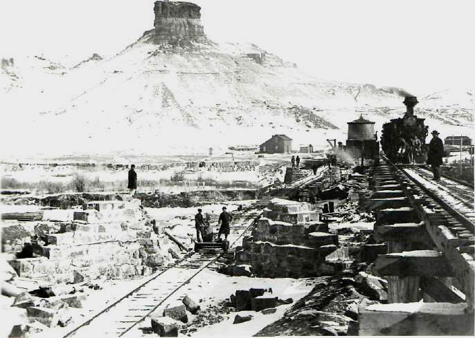 ANDREW J. RUSSELL. The Construction of the Railroad at Citadel Rock, Green River, Wyoming, 1867-68.